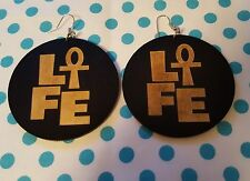 Wood earrings Black hoops Life Ankh Ethnic Afrocentric urban jewerly womens