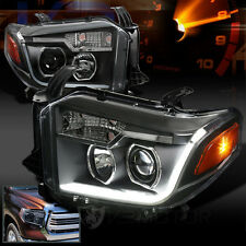 2014-2017 Toyota Tundra Black Clear LED Bar DRL Projector Headlights Pair