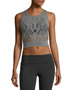 ALO Yoga Women's Vixen Cutout Fitted Crop Tank in Gray Size LARGE