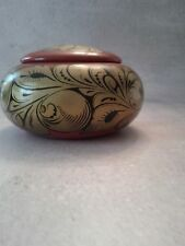 Russian Collectible Khokhloma Lacquer Vintage Folk Lore Covered Bowl