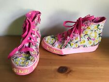LELLI KELLY Girls Pink Floral Beaded Hi-Top Trainers @ Size 31 UK 12.5 Shoes