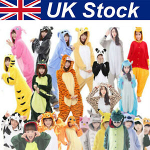 Kids Animal Pyjamas, Girls Boys Flannel Sleepsuit Hoodie,Xmas Cosplay Party UK&