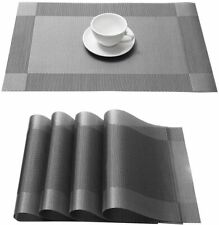 4Pcs Placemats Set Woven Vinyl PVC Table Mats 12x18'' for Dining Kitchen Decor