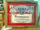 """Vintage BUDWEISER King Of Beers Framed Glass Beer Sign 26"""" x 18"""""""