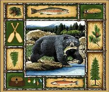 BLACK BEAR RUSTIC CABIN FISHING #2  IMAGE   COMPUTER MOUSE PAD 9 X 7