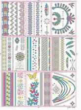 Flash Tattoos fluoreszierend Silber + Bunt Armbänder Federn 9 Blätter DISCO