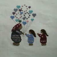 African American Balloon Seller Hearts Flowers Cross Stitch Completed Finished