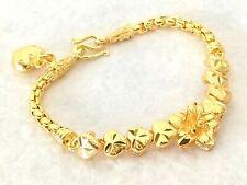 """Flower heart 22k 23K 24K Yellow Gold Thai Jewelry bracelet Charm Women 6"""""""
