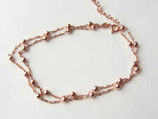 ROSE GOLD 925 STERLING SILVER 2 ROW TURKISH CHAIN BALL BRACELET