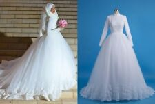 Muslim Hijab Wedding Dresses Veil Gelinlik Ball Gown Wedding Dress custom size