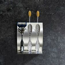 Stainless Steel 3 Holes Toothbrush Holder Wall Mounted With Self Adhesive Tape#^