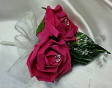 Wedding Flowers Buttonhole Corsage Hot Pink Roses Diamante Ribbon Loops