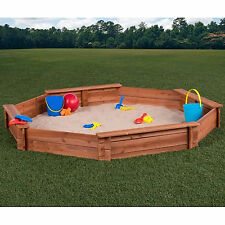 Sandbox With Cover 6.6' Octagon Outdoor Backyard Toddler Kids Cedar Sand Box New