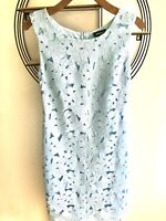 Pomodoro Light Blue Floral Crochet Sleeveless Knee Length Dress Sz10 - wedding
