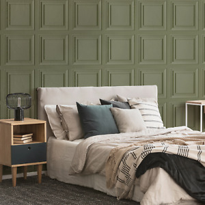 Coloured Wood Panel Effect Wallpaper in Sage