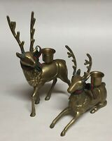 2 Brass Reindeer Candle Holders Figurines Christmas Decor