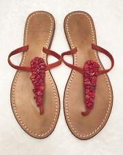 Womens Size 39 US 8-8.5 COCOBELLE Red Pebble Rock Flip-Flops Sandals -UNIQUE