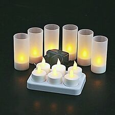 6 PCS Warm Yellow LED Flameless Tea Light Candle Night Lights Rechargeable