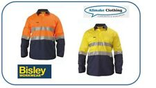 Bisley Workwear Hi Vis Work Shirt Vent Long Sleeve Closed Front 3M Tape BSC6896