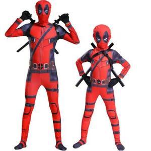 Adult /Kids Superhero Deadpool Cosplay Costume Birthday Fancy party Jumpsuits
