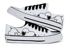 Brand New Women's Hand-painted Cartoon Puppy Dog comfortable Canvas Skate Shoes