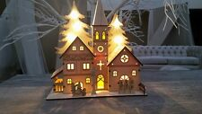 Shabby Chic Light Up Wooden Church Nativity Christmas Decor Ornament Village New