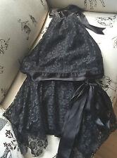 Black Lace Halter Neck Top & Matching Skirt Size 8/10 lined Designer