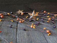 5 Ft Primitive Garland Orange Deep Plum Rusty Tin Stars Mixed Pip Berry Country