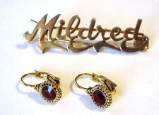 "Stone Leverback Earrings Pre-owned ~ Vgc Vintage Goldtone ""Mildred� Slide & Red"