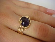 14K YELLOW GOLD, AMETHYST CABOCHON, LADIES FREE STYLE RING, 5.9 GRAMS, SIZE 6.5