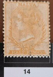 Malta 1863 1/2d SG3 Good Mtd  Regummed no watermarks perf 14