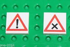 Lego 2x White Tile 2x2 Custom Printed Road Sign NEW!!! 5