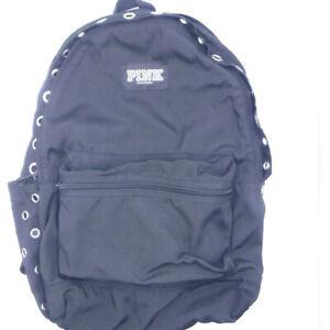 Victoria's Secret PINK BACKPACK Black & Silver School Student Book Bag Pockets