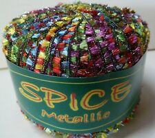 Knitting Fever - Spice Metallic # 05 Red, Green,Yellow  W/Silver   Nylon & Cupro