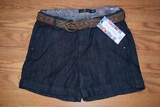 Womens One 5 One Dark Rinse Denim Braided Belt Shorts Sz 4