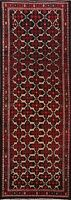 Vintage Traditional Geometric 10 ft Hand-knotted Runner Rug Wool Oriental 4'x10'