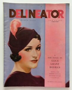 Delineator Fashion Art Deco Magazine March 1934 Rhys Painting Lady Cover Art