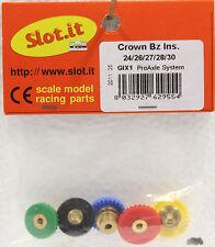 SLOT IT SIGIx1 W/5 POLYMER INLINE CROWN GEARS 3/32 NEW 1/32 SLOT CAR PART