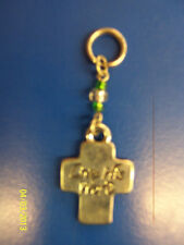 Ganz Silver Hanging Mini Cross Keyring Keychain Key Ring Charm - Live His Word