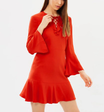 Karen Millen Red Flare Flute Hem Sleeve Tie Occasion Party Dress UK 10 38