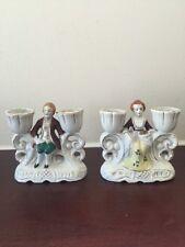Set of 2 Occupied Japan Victorian Porcelain Figurine Candle Stick Holder 1940