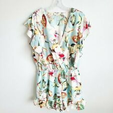 Umgee floral ruffle romper women's size large short sleeve