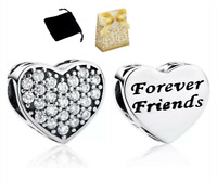 925 Sterling Silver best friends forever Love Heart BFF pendant charm + gift box