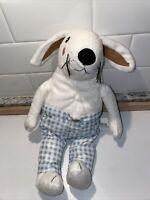 "Ikea Skogshare White BUNNY Rabbit Blue Plaid Pants 13"" Plush Stuffed Animal"