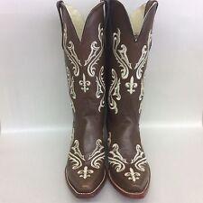 Ferrini Western Boots Women 8136110 Dark Brown White Size 8B #5