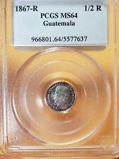Guatemala 1867R  1/2 real silver con . PCGS MS64