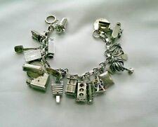 925 Sterling Silver Charm Bracelet: Vintage Register & Camera