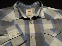 Levi's Mens Medium Long Sleeve Pearl Snap Blue Plaid Check Western Shirt