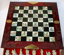Stile antico cinesi set di scacchi in CASSETTO PIEGHEVOLE bordo,