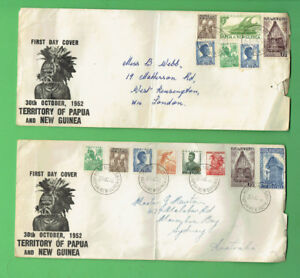#T65.  TWO USED PAPUA NEW GUINEA FIRST DAY COVERS - 30 OCTOBER 1952